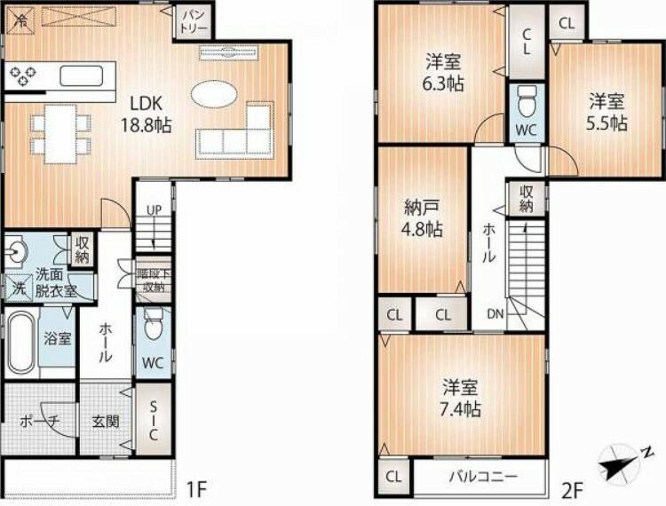 間取り図 収納豊富で家事動線の良い2階建てです。