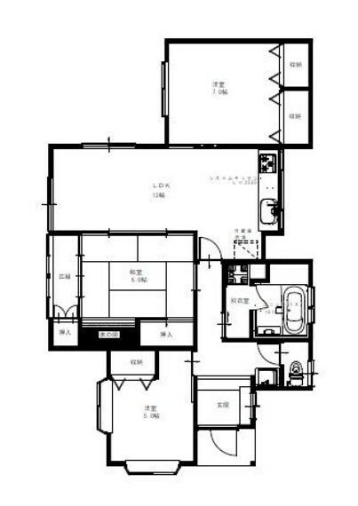 間取り図 【リフォーム後予定間取図】3LDKの平家建住宅。水回りは新品交換していきます。洋室2部屋リビング横には6帖の和室があり使いやすい間取りです。収納スペースも充実しております。