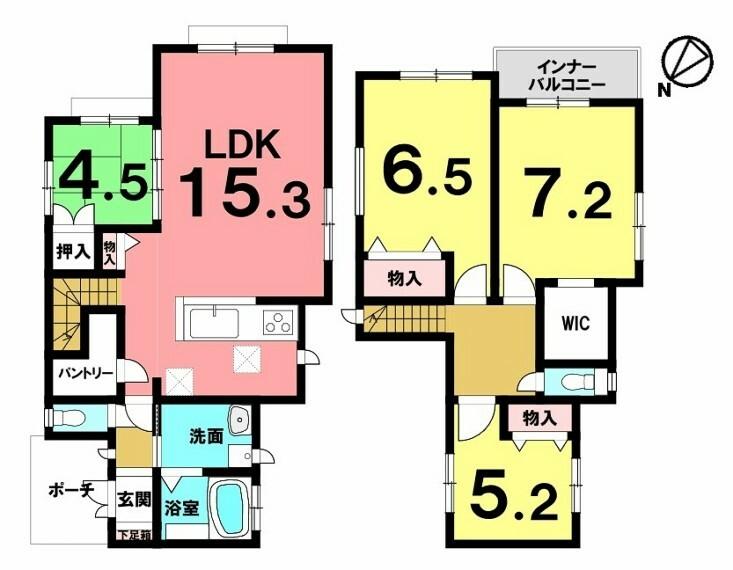 間取り図 木造2階建・4LDK!車3台駐車可能!ウォークインクローゼット等の収納が豊富 全3区画中の2号棟!