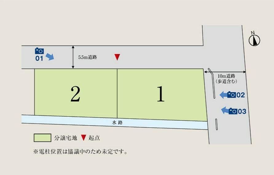 区画図 1号地73.67坪、2号地65.03坪の敷地面積。プランニングしやすい整形地です。