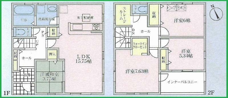 間取り図 敷地面積:145.79平米(44.1坪) 敷地面積:104.34平米(31.56坪) 収納場所豊富なご住宅です!