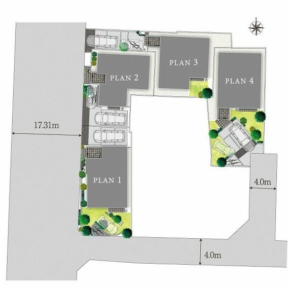 区画図 【陽光とゆとりを感じる街並み】  カースペースや庭を計画的に配置することで、爽やかな陽光が注ぐ4邸。ゆとりの敷地面積を確保することで、隣棟間隔にも余裕が生まれ、風の通り道をつくっています。