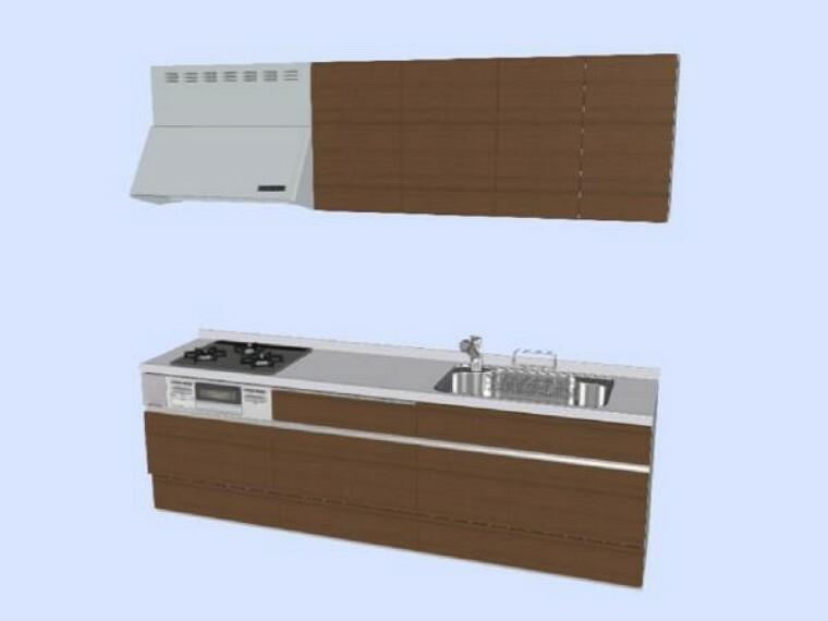 キッチン 【同仕様写真】キッチンは新品のLIXIL製システムキッチンに交換します。傷のつきにくい人工大理石の天板と大きなシンクでお手入れもラクラクですよ。