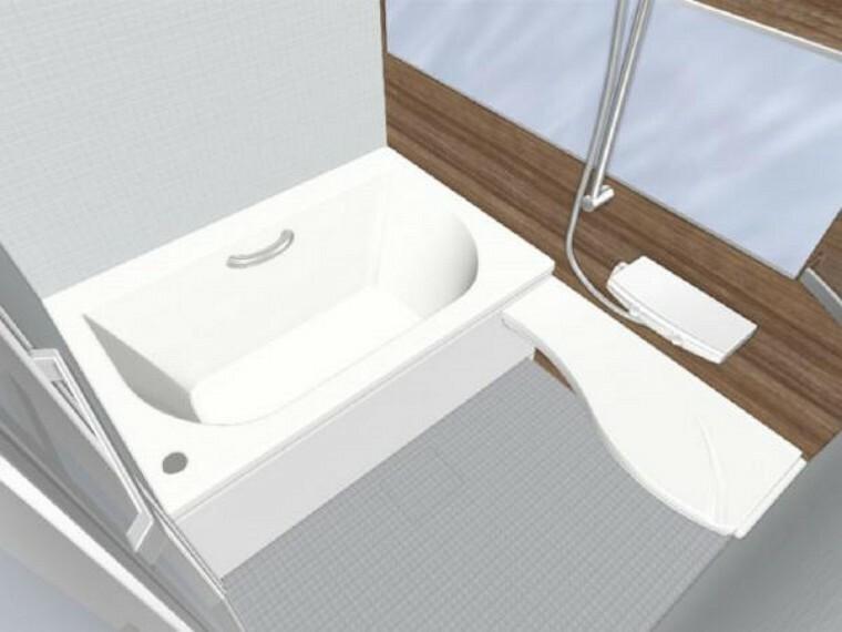 浴室 【同仕様写真】浴室は新品のLIXIL製ユニットバスを設置します。心地よい入浴を可能にした形状の浴槽は安全面を考慮し床に凹凸が付いています。