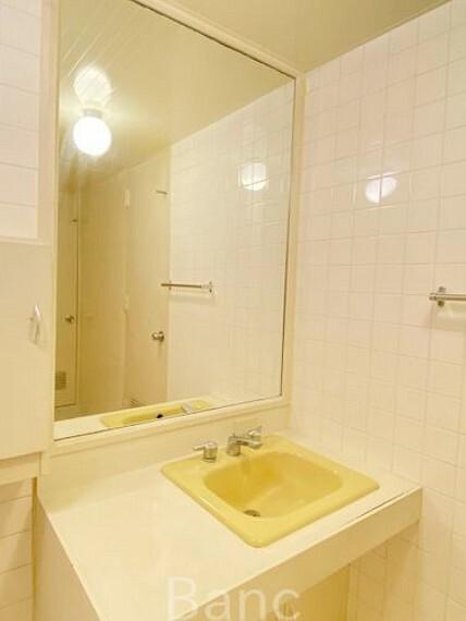 脱衣場 身だしなみのチェックがしやすい大きな鏡。収納部分もたっぷりなので、スッキリとした空間です。