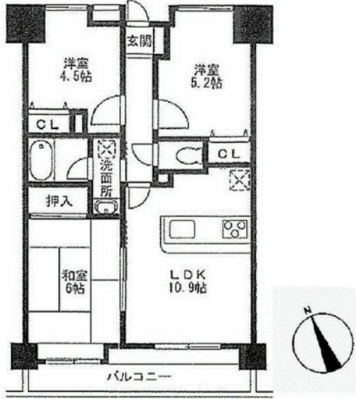 間取り図 最上階14階部分 南向きで陽当り通風良好な3LDK