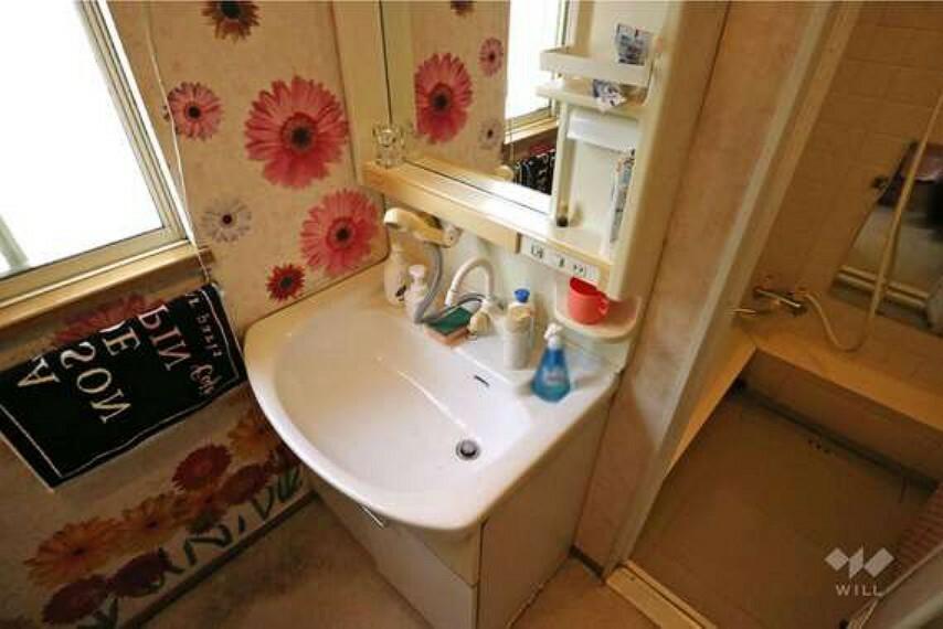 洗面化粧台 独立洗面台にはシャワーノズルが付いている珍しい仕様です。様々な用途でご活用いただけそうです。ラックや棚も付いていて、収納もしやすいですね。
