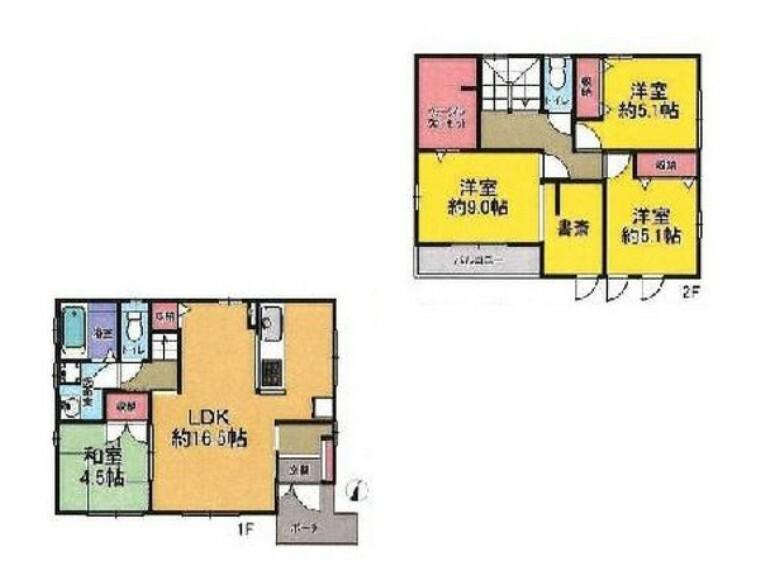 間取り図 南向きの4LDK!全居室2面採光ですので、換気もしやすく快適にお過ごし頂けます! 家計に優しいオール電化住宅!