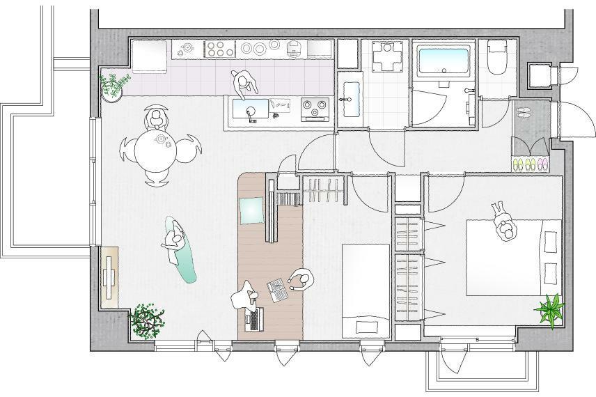 間取り図 プラン2:リビングの延長に寝室のある3人暮らし