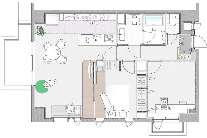 間取り図 プラン3:書斎・ワークスペースを設け、主寝室+LDKの一体的な空間
