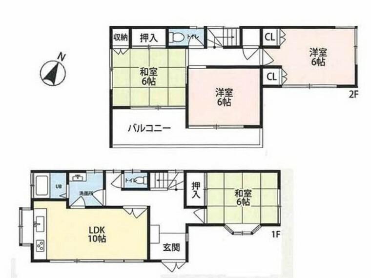 間取り図 全居室6帖南向き角地の、陽当・通風良好な邸宅です!居室は全て6帖以上と広々しています!フルリフォーム済のキレイなお住まいをぜひご見学ください!センチュリー21クレドまで!