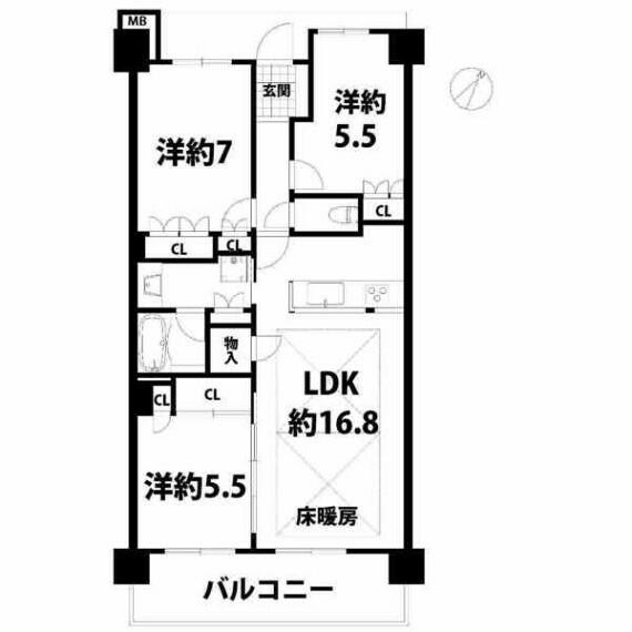 間取り図 9階部分・南東向きバルコニー