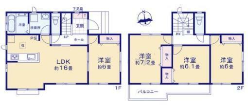間取り図 1号棟 4LDK(全室南向き)