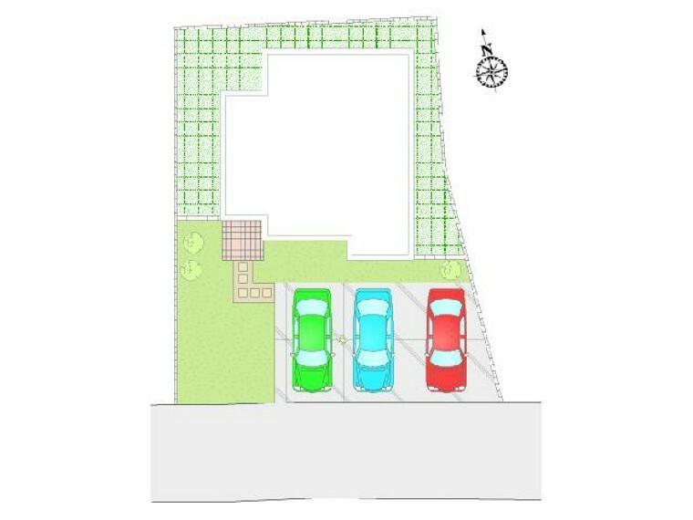 区画図 C区画:区画図・・・3台駐車可能。お友達が遊びに来ても安心ですね。