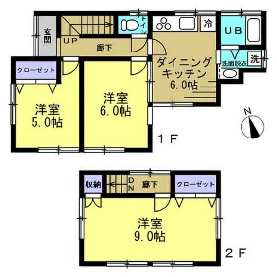 間取り図 【リフォーム済】全室洋室に間取り変更を行いました。各居室、廊下はフローリングの張り替えを行い、建具も新品交換してます。