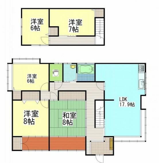 間取り図 【リフォーム中】間取りは5LDKです。収納を各居室に新設致します。