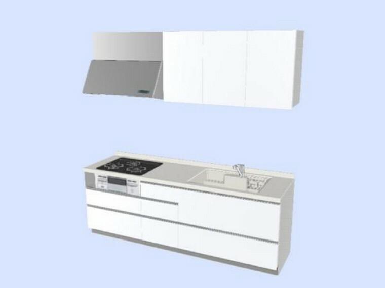【同仕様写真】キッチンはリクシル製の幅2550mmタイプに交換。収納もたっぷりできる引出し式2段収納です。シンクにはワイヤーポケットが付いてまな板や洗剤、スポンジ等の片付けに便利です。