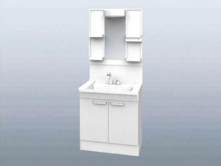 【同仕様写真】リクシル製の新品洗面台は、清掃性のよい陶器製ボウルをスクエアデザインを採用。水栓は使いやすいリフトアップ機能付き、シングルレバーシャワー水栓で、洗髪やお掃除が楽々。