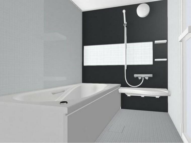 【同仕様写真】浴室は新品のリクシル製ユニットバスに交換。心地よい入浴を可能にした形状の浴槽は安全面を考慮し床に凹凸が付いています。広々1坪タイプでのんびり入浴でき、一日の疲れを癒せますよ。