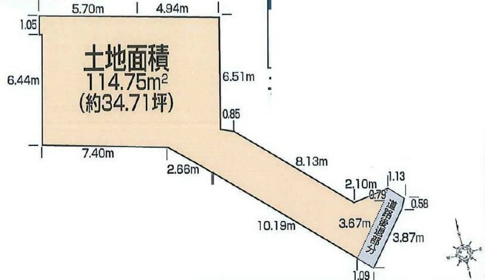 区画図 6号地 土地価格3,430万円