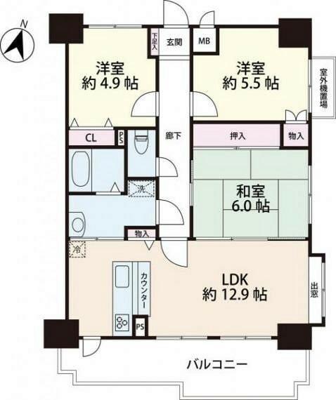 間取り図 南向き、全居室に収納のある3LDKの間取り図。内装リフォームの予定です。