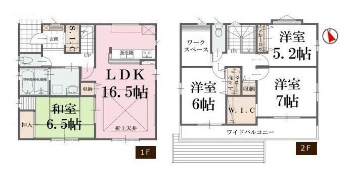 間取り図 【2号棟間取り図】4SLDK 建物面積108.05平米(32.74坪)