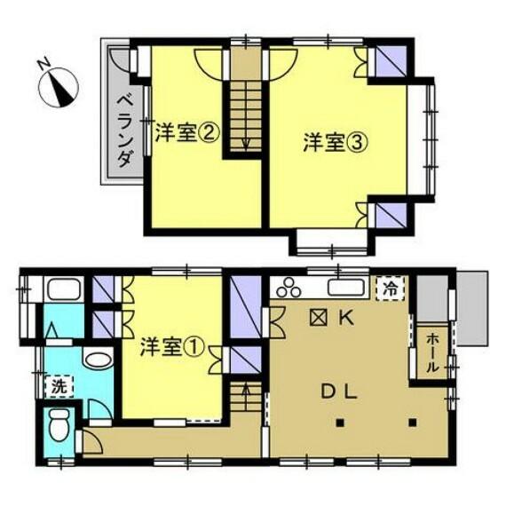 間取り図 【リフォーム後】間取り変更を行い、3LDKにします。和室は洋室へと変更し、LDKは廊下の壁を取り払って拡張します。3~4人家族にお勧めのおうちです。