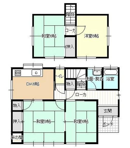 間取り図 【間取図】現在4DKの間取りを3LDKに変更します。DKと和室を繋げてリビングに拡張し、2階の和室は洋室へ間取り変更をします。