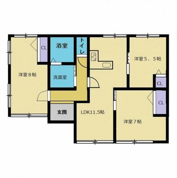 間取り図 【リフォーム済】3LDKの間取りへ変更しました。若い方でも住みやすいように、リフォームして洋室を増やしました。