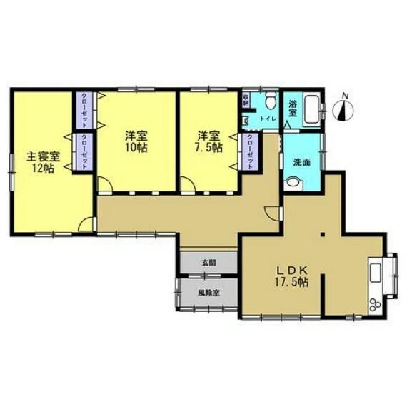 間取り図 【リフォーム中】和室3部屋を洋室に変更し、3LDKの間取りに変更します。平屋建てなので、階段のない生活ができます。ご年配の方にも優しい住宅です。