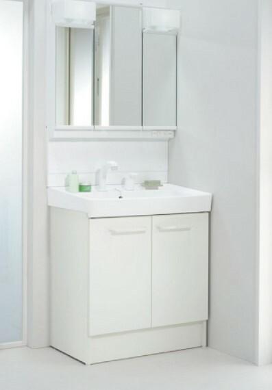 洗面化粧台 三面鏡付き洗面洗髪化粧台 三面鏡の裏側に収納スペースを設置。化粧品や洗面小物などをすっきりと収納できます。