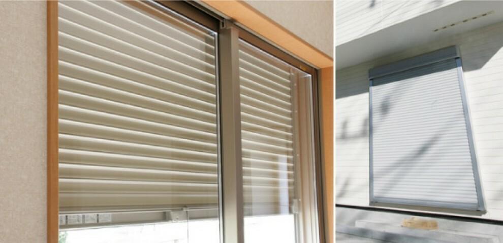 1階の一部開口部には、外部からの侵入を防ぐシャッター(自動または手動)を設置しています。遮音性や断熱性があり、目隠し等にもご利用いただけます。