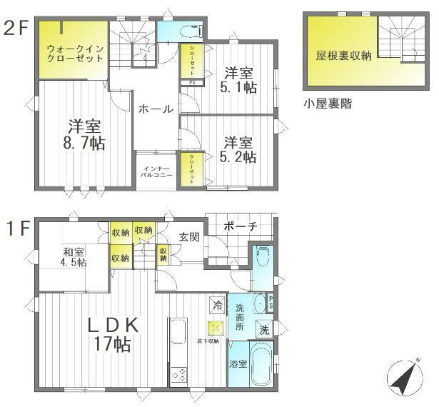 間取り図 4LDK+ウォークインクローゼット+小屋裏収納