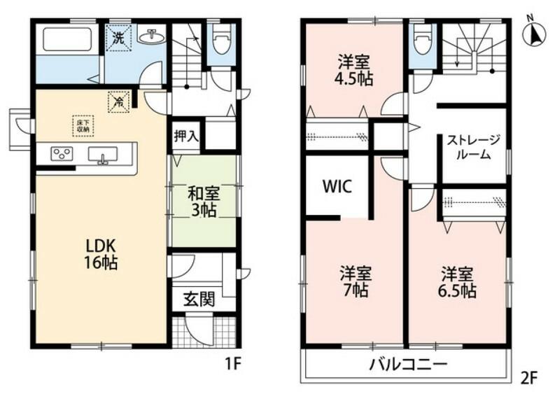 間取り図 4LDKとウォークインクローゼット、納戸でゆとりのある暮らしが実現。リビングは隣にある和室を合わせると19帖の開放感あふれる空間です。2階は洋室が3部屋あるので、お子様が大きくなっても安心ですね。