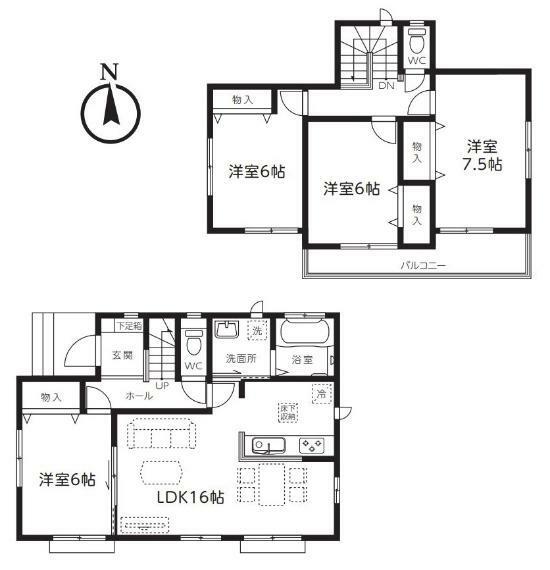 間取り図 【2号棟間取り図】4LDK 建物面積98.95平米(29.92坪)