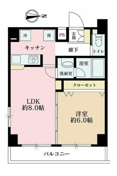 間取り図 1LDK、価格3580万円、専有面積40.89m2、バルコニー面積5.51m2