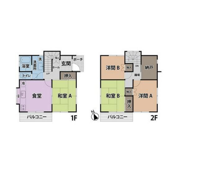 間取り図 2階建ての4SDK! 2階には窓のある納戸が御座います。収納としても、在宅ワークスペースとしても活用できます!