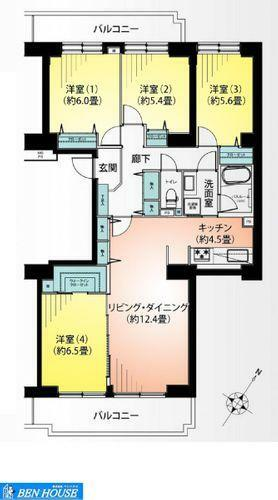 間取り図 ・90平米を超える収納豊富な広々4LDK・2WAY洗面室で動線が短く済みますね・各居室収納完備はもちろんリビング収納・玄関収納もございますので、どちらのお部屋もスッキリと利用できますね