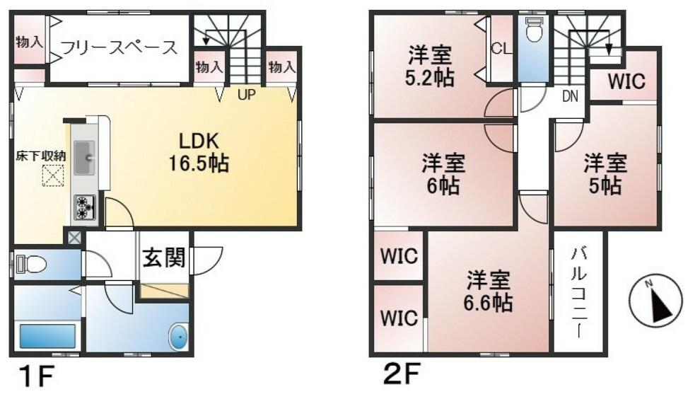 間取り図 土地面積137.61平米 建物面積106.82平米 4SLDK フラット35S対応(金利Aプラン)