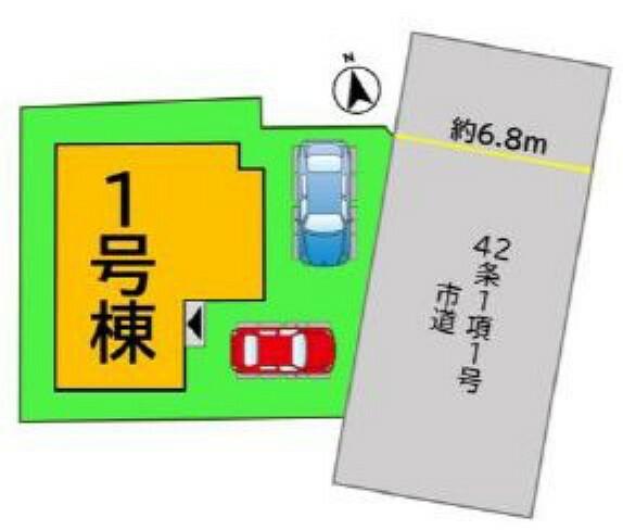 区画図 ゆめタウン筑紫野まで約500m、二日市東小学校まで約1400m、筑紫野中学校まで約500m