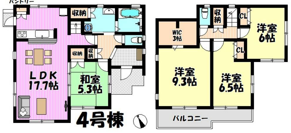 間取り図 4LDK リビング17.7帖  洋室全室6帖以上