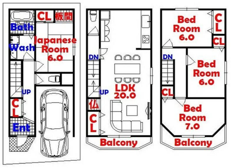 間取り図 4LDK/全居室収納/リビング広びろ20帖/リフォーム始まります