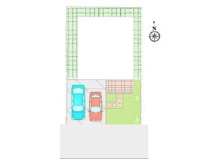 区画図 C号棟 区画図・・・駐車スペースは広めに並列で2台お停め頂けます。