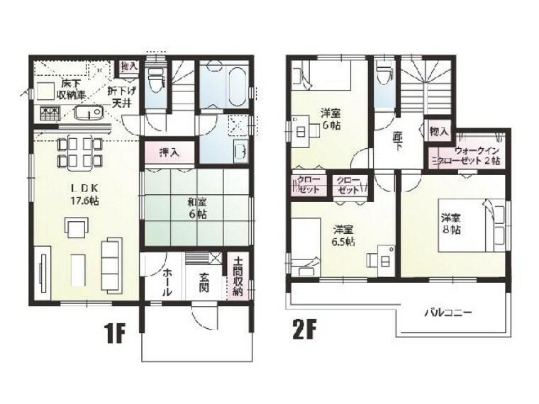 間取り図 C号棟 間取り図・・・日々の生活に便利な玄関土間収納をはじめ、洗面室収納や2階共用の物入れなど、必要箇所に設けており、生活(家事)動線として特に水廻りは行き来しやすくつくられております。また2Fバルコニーも大きく取っておりますので晴れた日には布団干しなどもはかどります。