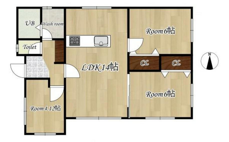 間取り図 [リフォーム後_間取図]平屋建ての3LDK。現在一部屋和室がありますがリフォームで洋室に変更し、全居室洋室になります。またキッチンは対面キッチンへ変更致します。