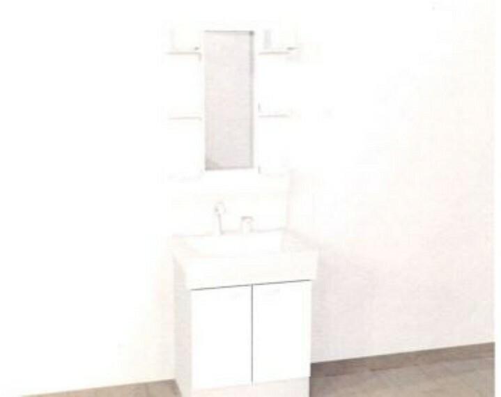 [同仕様写真_洗面化粧台]ハウステック製の洗面化粧台に新品交換致します。一面鏡タイプで鏡の両サイドには棚が設置してあります。洗面ボウルは60センチの間口があり容量は14Lまで可能です。
