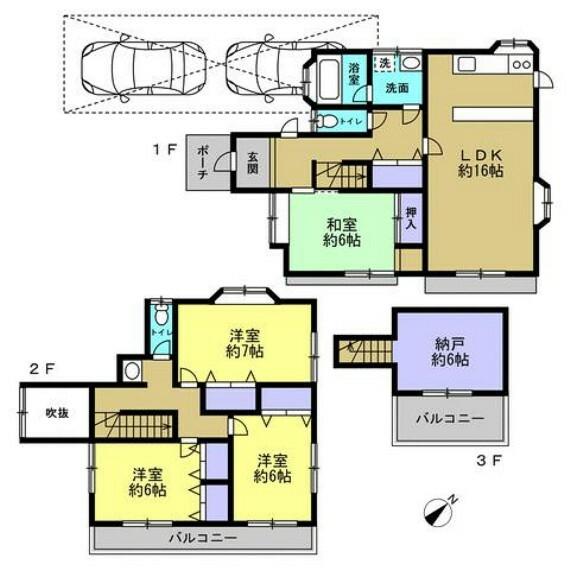 間取り図 【間取り図】南東向き5LDKのお家です。水回り交換を中心としたリフォームを行います。