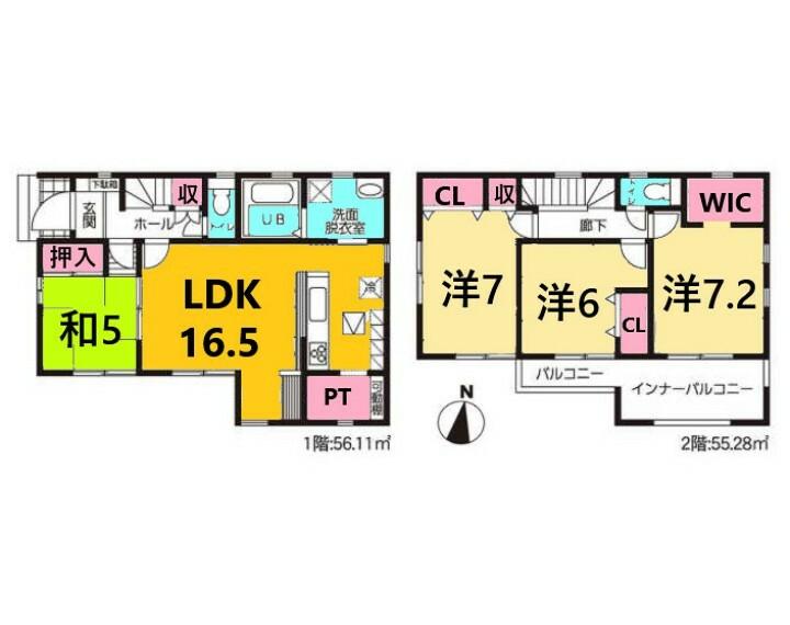 間取り図 土地面積:126.55平米、建物面積:111.39平米、4LDK