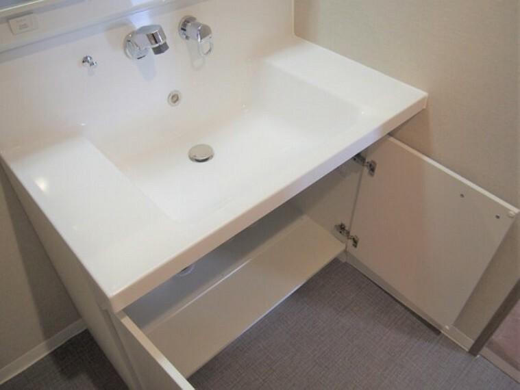 洗面化粧台 日用品のストック等を仕舞っておける両開き戸式の収納。