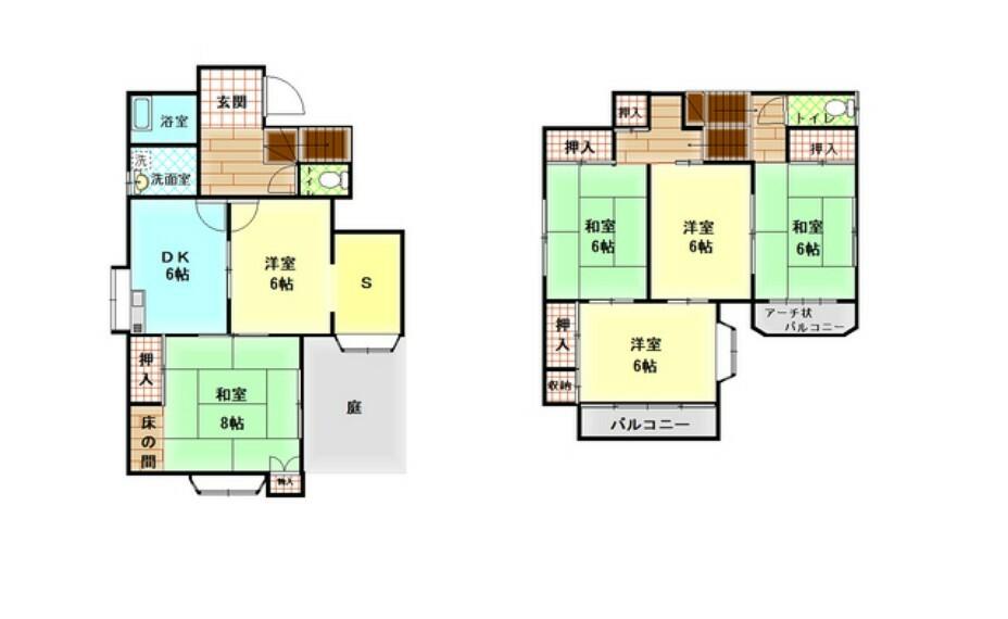 間取り図 部屋数が多いので自室や子供部屋はもちろん、客間や納戸としてもお部屋を使うことができそうですね!